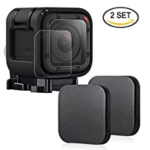 Hapurs Sports Camera Lens Caps And Tempered Glass Screen Protector, 2 Pack Protective Lens Cover Case and 2 Pack Anti-scratch Water-proof Tempered Glass Screen Protector for Gopro Hero 4 and 5 Session