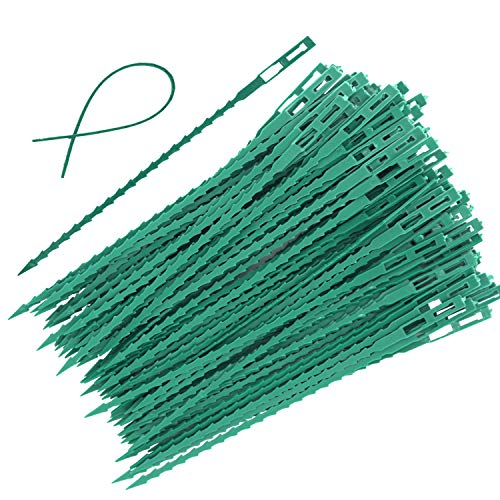 EuTengHao 100 Pieces Adjustable Garden Plant Twist Ties, 9 Inch Flexible Plastic Twist Ties Multi-Use for Secure Vine (Green)