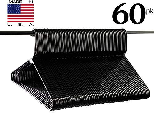 Neaties USA Made Black Plastic Hangers with Bar Hooks, 60pk by Neaties
