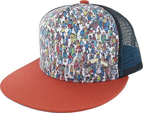 Mesh Screen Print Cap (Wheres Waldo Screen Print Trucker Mesh Flat Bill Two Tone Snapback Hat Cap)