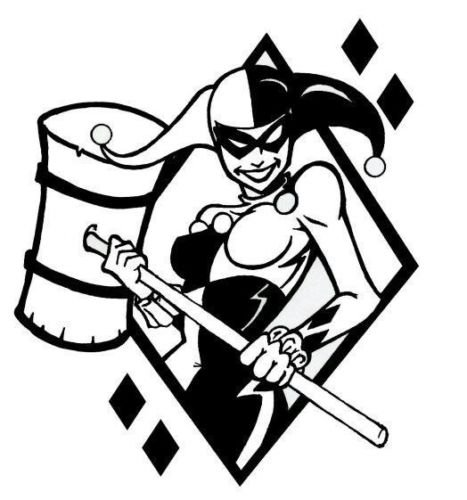 DC Comics Batman Harley Quinn Mallet, Black, 22 Inch, Die Cut Vinyl Decal, For Windows, Cars, Trucks, Toolbox, Laptops, Macbook-virtually Any Hard Smooth Surface ()