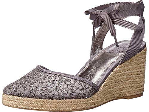 Embroidered Wedge - Adrianna Papell Women's Pamela Pewter Valencia Lace 7.5 M US