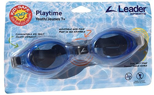 Leader Sports Swim Goggles, Playtime Youth, Ages 7+ (Blue)