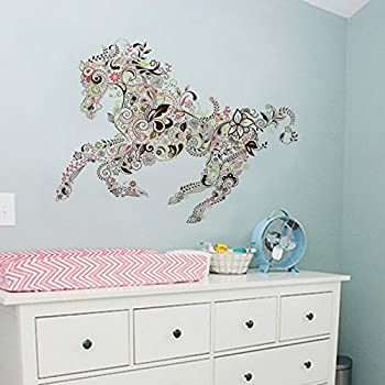 24 X 18 Inch Cartoon Colorful Horse Pattern Personalized DIY Wall Sticker  For Kid Room Decals Living Room Bathroom Bedroom Decorative Poster Home  Decoration ...