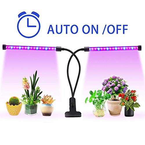 18W Plant Grow Light with Auto Turn ON/Off Function,36 LED 5 Dimmable Levels Plant Grow Lamp Bulbs for Indoor Plants with Red/Blue Spectrum, 3/6/9/12/15H Timer, 3 Switch Modes, Adjustable Gooseneck by Lovebay