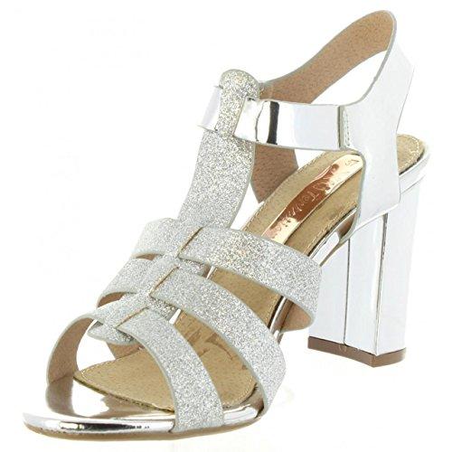XTI Sandalias de Mujer 30615 Glitter Plata