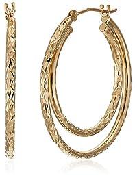10k Yellow Gold Double Diamond Cut Hoop Earrings