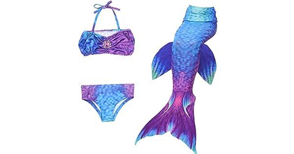Amazon.com: winzik cola de sirena traje de baño 3 piezas ...