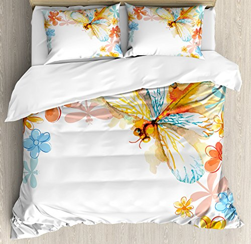 Dragonfly King (Dragonfly Duvet Cover Set King Size by Ambesonne, Abstract Grunge Vintage Design Moth with Spring Flowers Floral Frame Art Print, Decorative 3 Piece Bedding Set with 2 Pillow Shams, Multicolor)