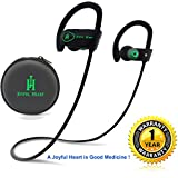 Bluetooth Headphones, Joyful Heart (JH-800), Wireless earphones with Mic, IPX7 100% Sweat and Waterproof, Best for Sports, HD Sound, Noise Cancelling, Secure Fit, 8-Hr Playtime (Black-Green)