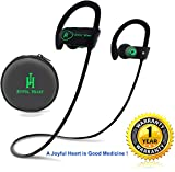 Bluetooth Headphones, Joyful Heart (JH-800), Wireless earphones, Earbuds with Mic, IPX7 100% Sweat and Waterproof, Best for Sports, HD Sound, Noise Cancelling, Secure Fit, 8-Hr Playtime (Black-Green)