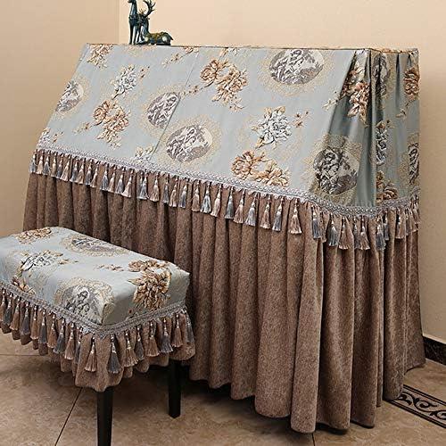 ピアノ保護カバー アップライトピアノのフルカバーアンチダスト傷スクラッチカバーシェニール保護布カバーカーテンのようなデザイン (色 : 青, サイズ : L-56x36cm)