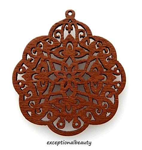 2 Brown Wood 38mm Wooden Bead Drop Components Filigree Flower Cutout Carved ()