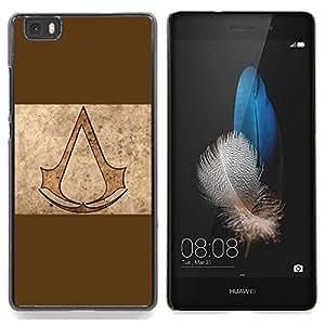 """Qstar Arte & diseño plástico duro Fundas Cover Cubre Hard Case Cover para Huawei Ascend P8 Lite (Not for Normal P8) (Asesinos de Brown"""")"""