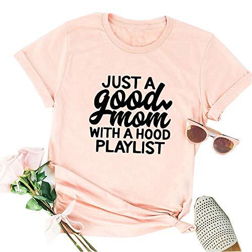 Tsun Women Just a Good Mom Letter Print Tee Round Neck Short Sleeve T-Shirt Tops (Pink, US S)