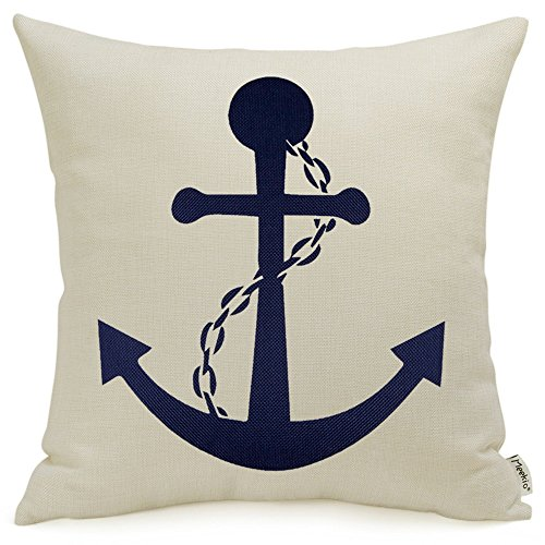 Meekio Nautical Anchor Navy Blue Decorative Throw Pillow Covers 18 x 18 Linen Pillow Covers