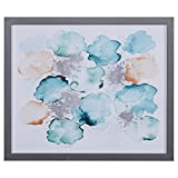 Modern Abstract Turquoise and Tan Print in Silver Colored Frame, 22'' x 26''
