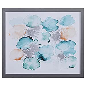 "Modern Abstract Turquoise and Tan Print in Silver Colored Frame, 22"" x 26"""