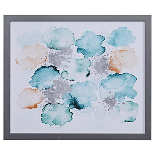 Modern Abstract Turquoise and Tan Print in Silver Colored Frame, 22'' x 26'' by Stone & Beam