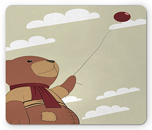 Cartoon Mouse Pad by Lunarable, A Melancholic Teddy Bear with Scarf Holding a Balloon Clouds in the Sky Clipart, Standard Size Rectangle Non-Slip Rubber Mousepad, Beige (Bears Clipart)