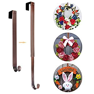 "AnCintre Wreath Hanger, Adjustable Length from 15"" to 25"" Wreath Hanger for Front Door Heavy Duty with 20LB Upgrade Wreath Hook Holder for Christmas Decorations 94"