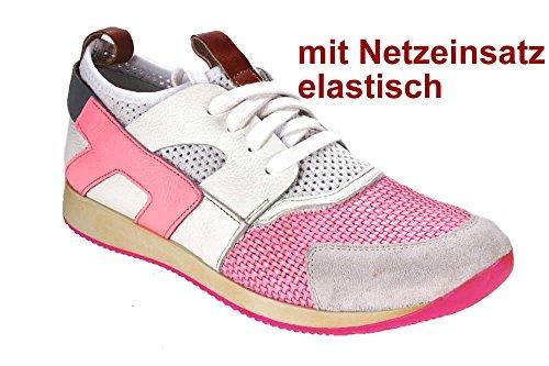RECCIO edler Ledersneaker Momino mit Netzeinsatz Pink