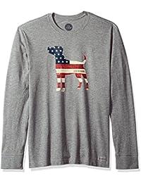 Men's Crusher Long Sleeve Dog Flag Hthgry T-Shirt,