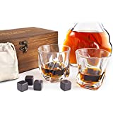 Whiskey Stones Gift Set - 8 Granite Chilling Whisky Rocks + 2 Large Crystal Whiskey Glasses - Beverage Drinking Ice Stones + Whisky Tumblers - Gift Wooden Box and Cotton Bag