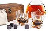 Image of Whiskey Stones Gift Set - 8 Granite Chilling Whisky Rocks + 2 Large Crystal Whiskey Glasses - Beverage Drinking Ice Stones + Whisky Tumblers - Gift Wooden Box and Cotton Bag