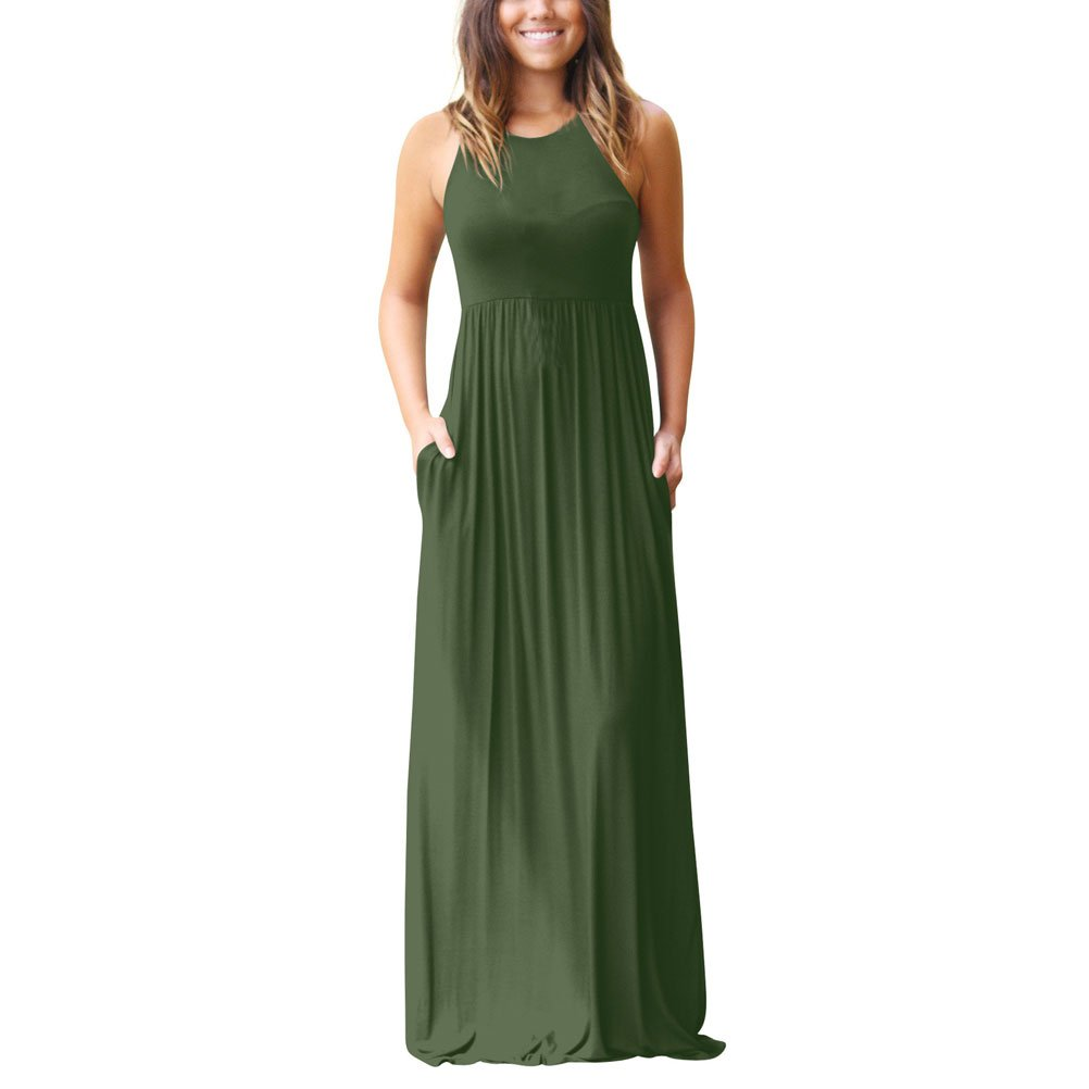 Donalworld Women Boho Stripe Summer Beach Long Maxi Sundress Dress