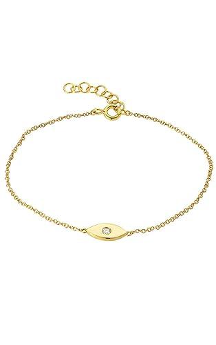 Amazoncom 14k gold evil eye bracelet with diamond single diamond