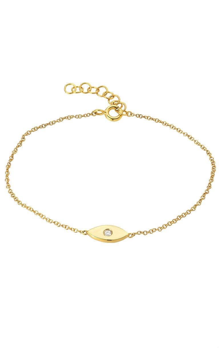 14k gold evil eye bracelet with diamond, single diamond evil eye by Zoe Lev Jewelry