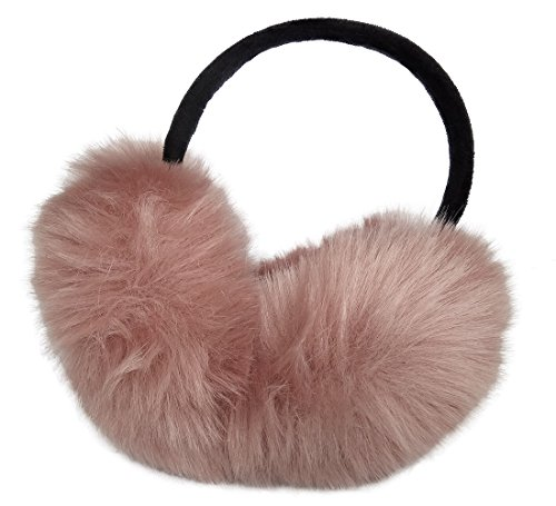LETHMIK Women's Faux Fur Foldable Big Earmuffs Winter Outdoor Ear Warmers Skin Pink