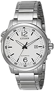 Citizen NJ0070-53A Automatic Mens Watch White Stainless Steel Black Dial
