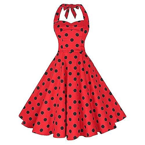 TENCON Womens Vintage 1950s Halter Cocktail Party Dress Red Black Polka Dots L