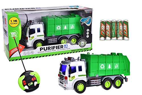 Remote Control Recycle Trash Machine Truck Vehicle Green And White 1:16 With Light And Music Six Wheel with Batteries - Stinky The Garbage Truck Toys