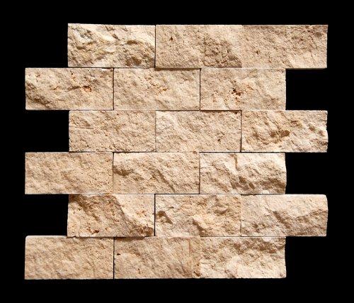 Light 2X4 Split-Faced Travertine Mosaic Tile