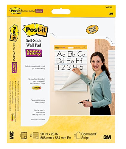 Post-it Self-Stick Primary Ruled Wall Pad, 20 x 23 in, White, Pad of 20 Sheets, Pack of 2