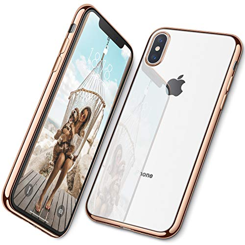DTTO Case for iPhone Xs Max, [Lightening Series] Clear Stylish Flexible Case with Metal Luster Edge for Apple iPhone Xs Max 6.5 Inch (2018 Released) - Gold