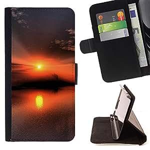 BullDog Case - FOR/Samsung Galaxy A3 / - / Sunset Beautiful Nature 53 /- Monedero de cuero de la PU Llevar cubierta de la caja con el ID Credit Card Slots Flip funda de cuer
