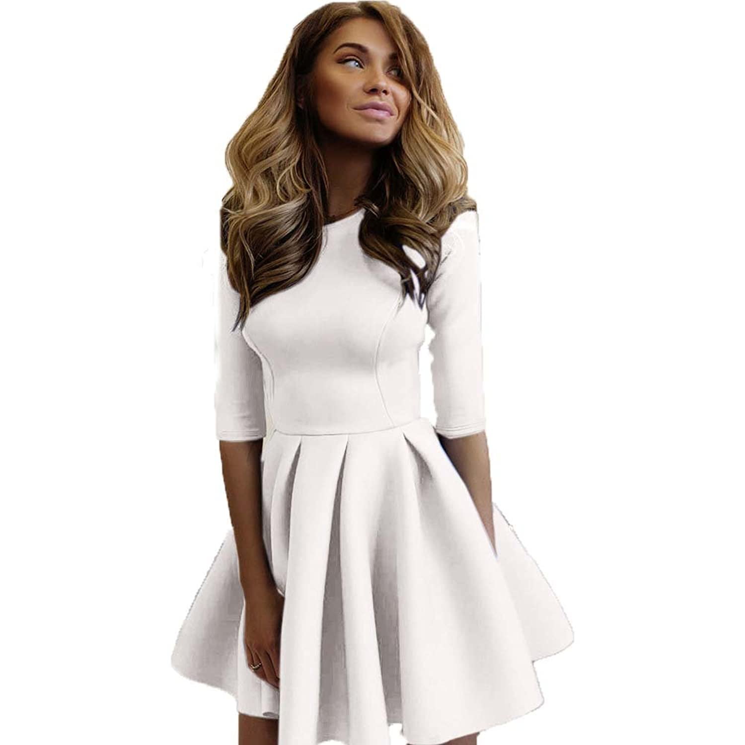 Autumn Womens Three Quarter Sleeve Slim A-Line Mini Dresses Sexy Casual Solid Mini Skater Dress Vestidos Femininos at Amazon Womens Clothing store: