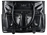 6 Pack Fitness Renee Leather Tote with Insulated Meal Management System, Black