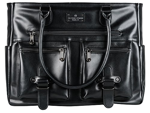 - 6 Pack Fitness Renee Leather Tote with Insulated Meal Management System, Black (25405)
