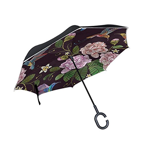 All agree Inverted Reverse Umbrella Rose Hummingbirds Windproof for Car Rain Outdoor ()