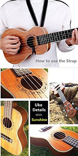 Concert Ukulele Ranch 23 inch Professional Wooden ukelele Instrument Kit With Free Online 12 Lessons Small Hawaiian Guitar ukalalee Pack Bundle Gig bag & Digital Tuner & Strap & 4 Aquila Strings Set - Image 5