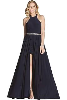 Tiffanys Illusion Prom Navy Annabelle Halterneck Long/Short Dress