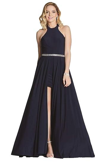 Tiffanys Illusion Prom Navy Annabelle Halterneck Long/Short Dress UK 4