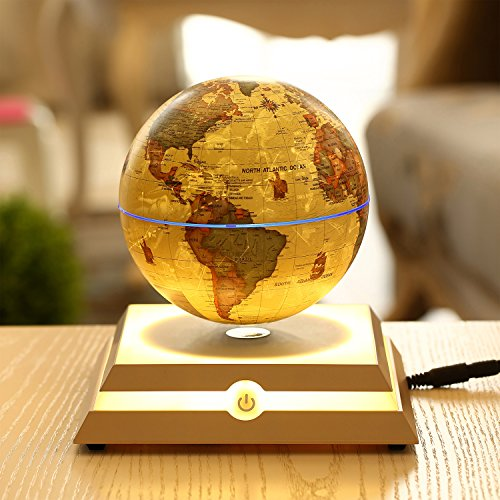 "Magnetic Levitating Floating Globe with LED Light, Rotating World Map and Constellation in 6"" Anti Gravity Globe (Antique)"
