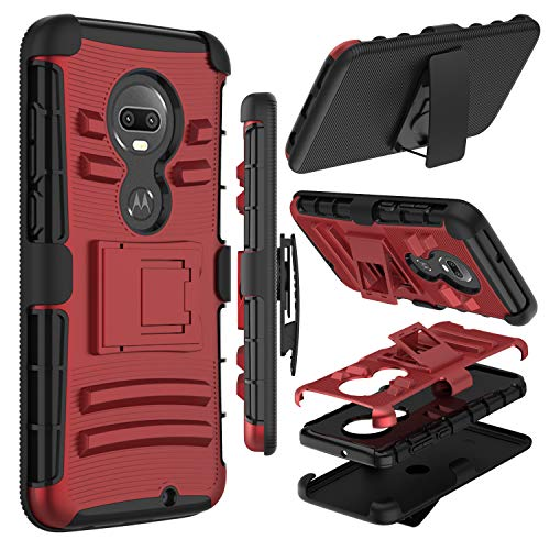 Motorola Moto G7 Case, Moto G7 Plus Case, Zenic Heavy Duty Shockproof Full-Body Protective Hybrid Case with Swivel Belt Clip and Kickstand for Moto G (7th Generation) (Red)