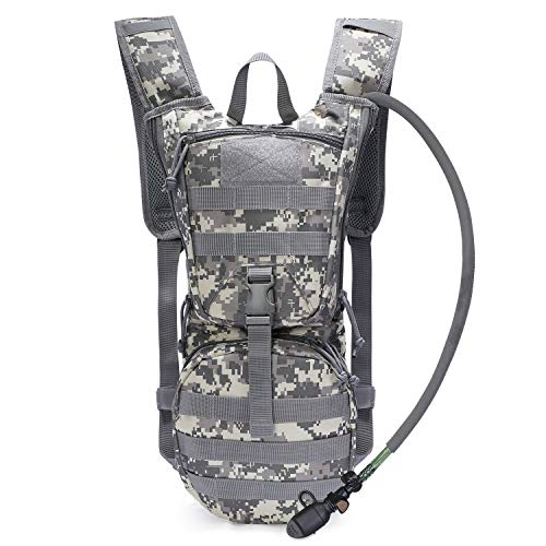 (G4Free Military Hydration Pack Backpacks with 3L Upgraded Bladder for Hiking, Biking, Running, Walking and Climbing(New ACU Camouflage))